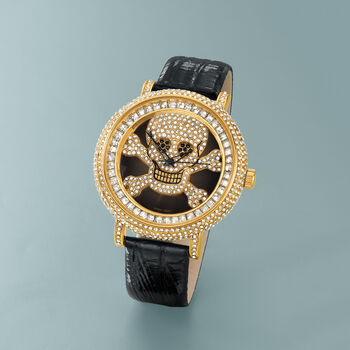 Saint James Women's 46mm Black and White Crystal Skull Watch with Black Leather in Goldtone, , default