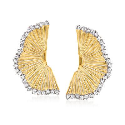 .50 ct. t.w. Diamond Fan Earrings in 18kt Gold Over Sterling