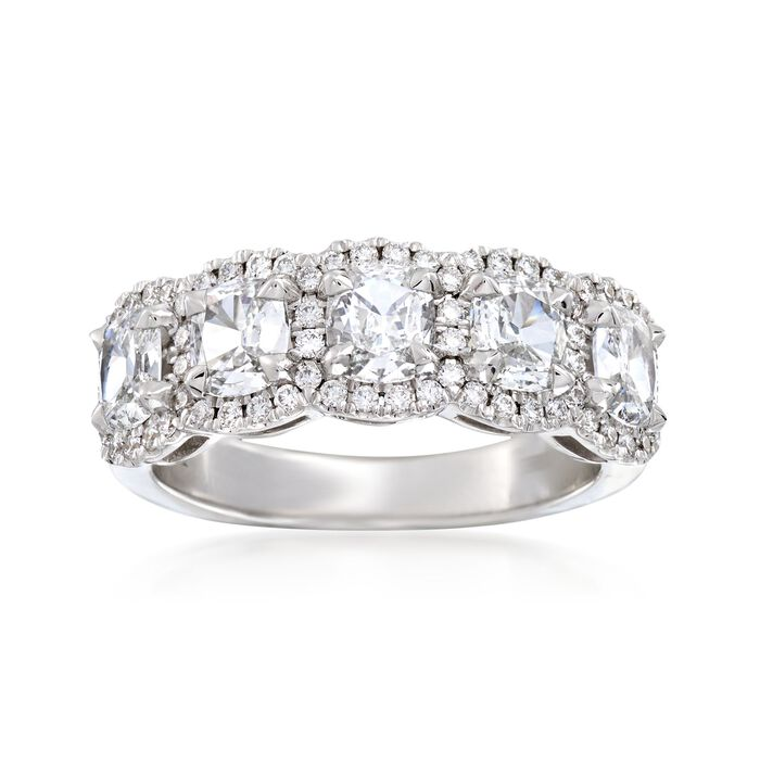 Henri Daussi 1.60 ct. t.w. Five-Stone Diamond Ring in 18kt White Gold