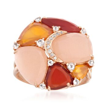 Opaque Multi-Stone Mosaic Ring With Diamond Accents in 14kt Rose Gold, , default