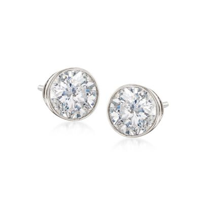 1.00 ct. t.w. Bezel-Set Diamond Stud Earrings in 14kt White Gold, , default