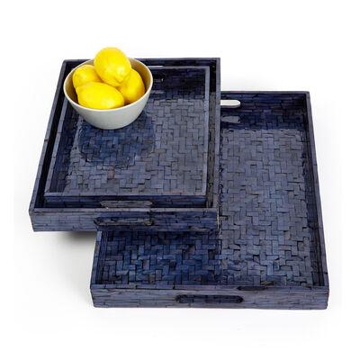Set of 3 Midnight Blue Shimmering Gallery Trays, , default