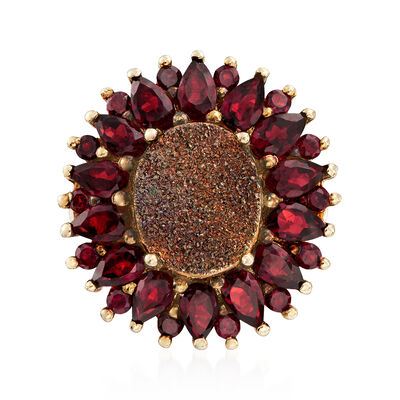 Brown Drusy and 3.80 ct. t.w. Garnet Flower Ring in 18kt Gold Over Sterling