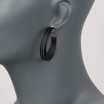 """ALOR """"Noir"""" Black Stainless Steel Multi-Cable Hoop Earrings With 18kt White Gold. 1 5/8"""", , default"""
