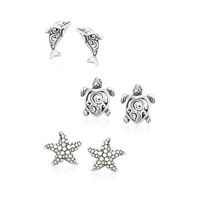 Sterling Silver Sea Life Jewelry Set: Three Pairs of Stud Earrings