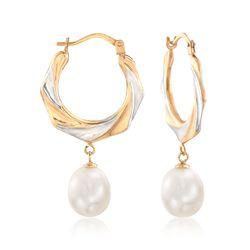 8-9mm Cultured Pearl Hoop Earrings in 14kt Two-Tone Gold, , default