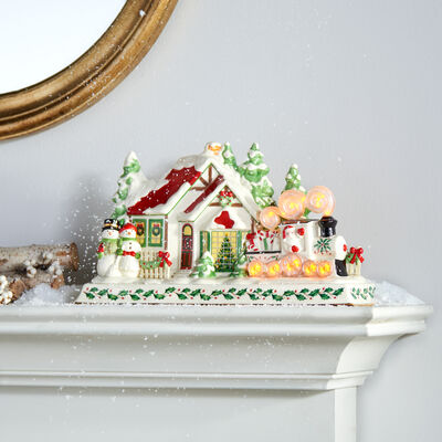 Lenox Porcelain Santa and Train Holiday Musical Mantel Piece, , default