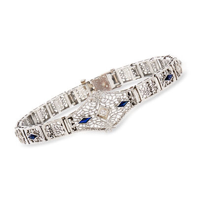 C. 1950 Vintage .60 ct. t.w. Synthetic Sapphire and .15 ct. t.w. Diamond Filigree Bracelet in Platinum