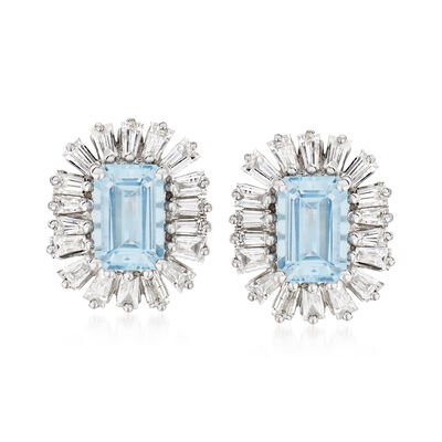 1.00 ct. t.w. Aquamarine and .56 ct. t.w. Diamond Earrings in 14kt White Gold
