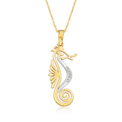 14kt Yellow Gold Cut-Out Seahorse Pendant Necklace with Diamond Accents, , default