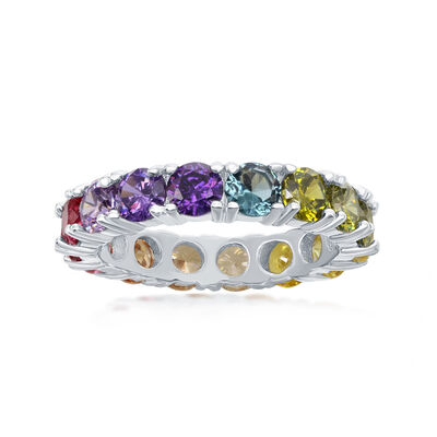 3.70 ct. t.w. Multicolored CZ Eternity Band in Sterling Silver, , default