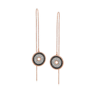 "Swarovski Crystal ""Lollypop"" Bullseye Drop Threader Earrings in Rose Gold-Plated Metal, , default"