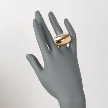 Gold-Plated Stainless Steel Barrel Ring. Size 7