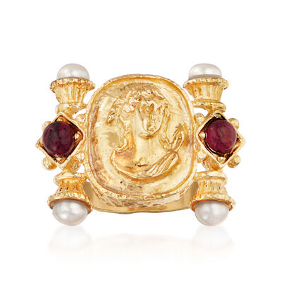 Italian 5mm Cultured Pearl and 4.00 ct. t.w. Garnet Ring in 18kt Gold Over Sterling