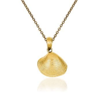 "14kt Yellow Gold Clam Shell Pendant Necklace. 18"", , default"