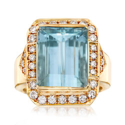 C. 1980 Vintage 9.40 Carat Emerald-Cut Aquamarine and .68 ct. t.w. Diamond Ring in 18kt Yellow Gold, , default