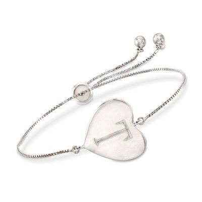 Sterling Silver Personalized Heart Bolo Bracelet, , default