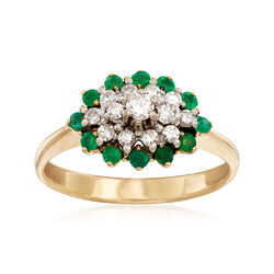 C. 1980 Vintage .32 ct. t.w. Diamond and .30 ct. t.w. Emerald Cluster Ring in 14kt Yellow Gold, , default