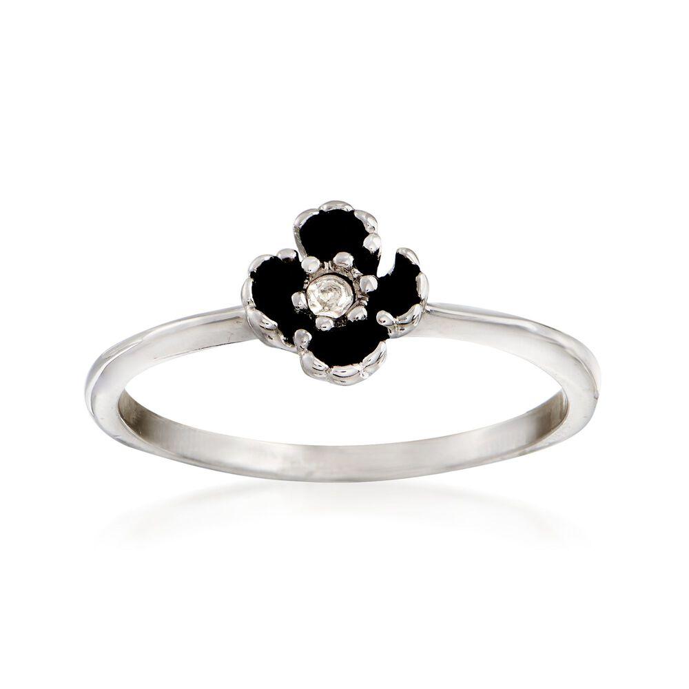 C 1970 Vintage Rhinestone Flower Ring In 14kt White Gold Size 95