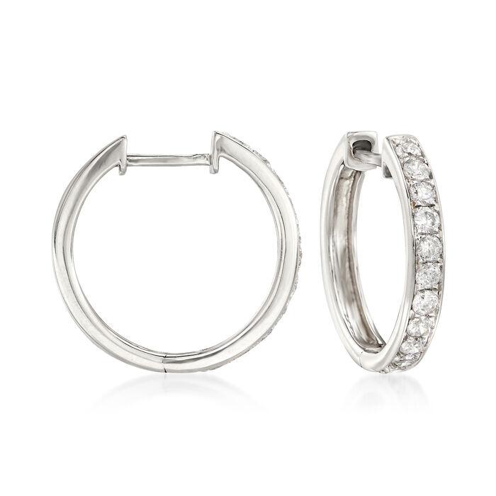 """.50 ct. t.w. Diamond Hoop Earrings in 14kt White Gold. 5/8"""", , default"""