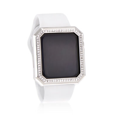 1.11 ct. t.w. CZ Apple-Inspired Halo Bezel Watch Case in Silver-Plated Brass