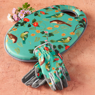 Flora and Fauna Gardening Gloves and Kneeling Pad Set, , default
