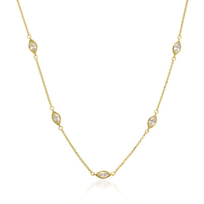1.25 ct. t.w. CZ Marquise Station Adjustable Necklace in 14kt Yellow Gold, , default