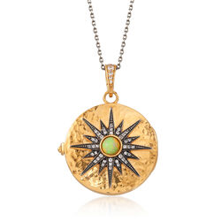 Opal and .60 ct. t.w. White Zircon Starburst Locket Necklace in 18kt Gold Over Sterling, , default