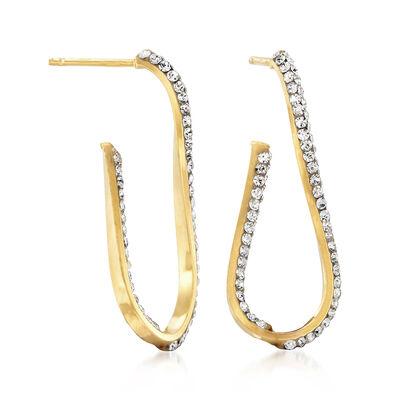 Italian Swarovski Crystal Inside-Outside Drop Earrings in 14kt Yellow Gold, , default