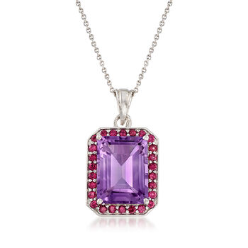 10.00 Carat Amethyst and 1.20 ct. t.w. Rhodolite Garnet Pendant Necklace in Sterling Silver, , default