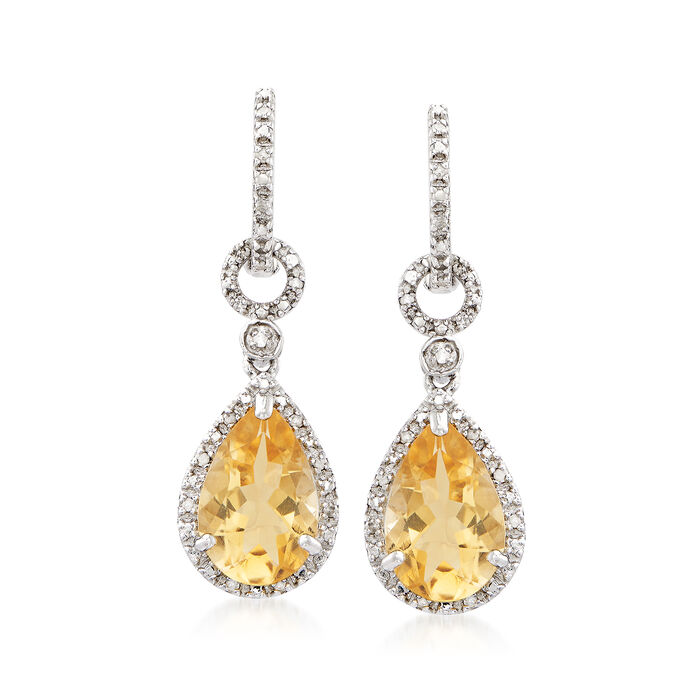 6.00 ct. t.w. Citrine and .13 ct. t.w. Diamond Drop Earrings in Sterling Silver, , default