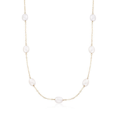 7-7.5mm Cultured Pearl Station Necklace in 14kt Yellow Gold