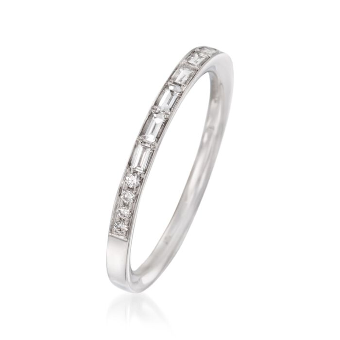 .31 ct. t.w. Baguette and Round Diamond Wedding Band in 18kt White Gold