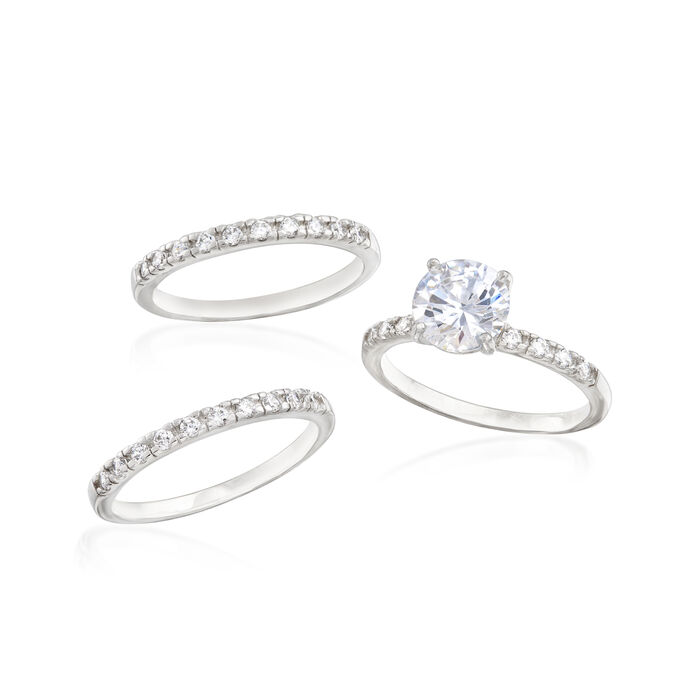 2.40 ct. t.w. CZ Bridal Set: Engagement and Two Wedding Rings in Sterling Silver
