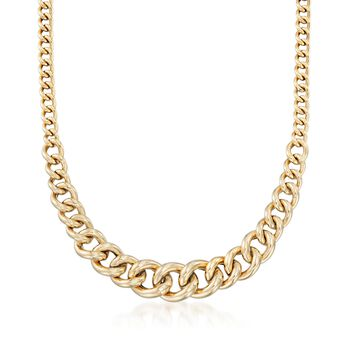 "Italian 14kt Yellow Gold Graduated Curb-Link Necklace. 20"", , default"