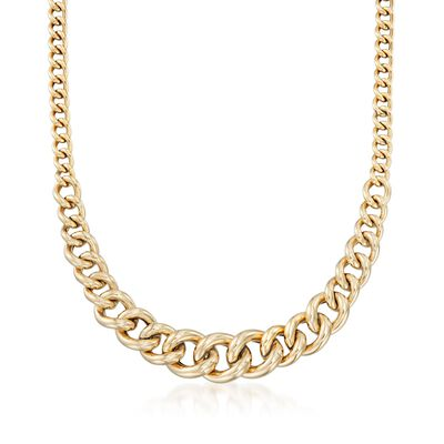 Italian 14kt Yellow Gold Graduated Curb-Link Necklace, , default