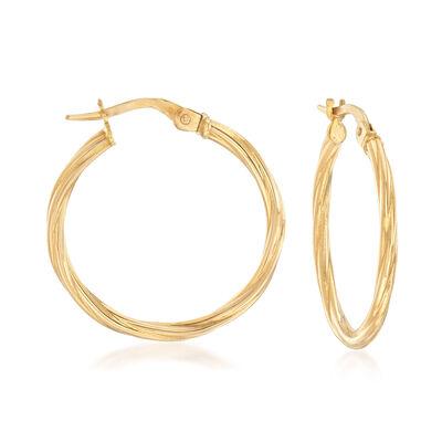 Italian 18kt Yellow Gold Twisted Hoop Earrings, , default