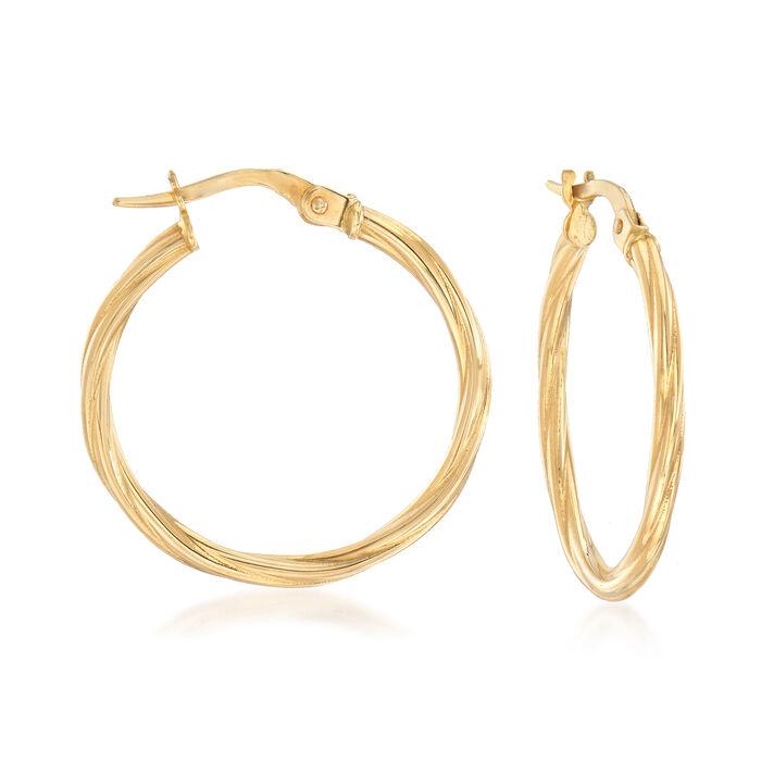 """Italian 18kt Yellow Gold Twisted Hoop Earrings. 1"""", , default"""