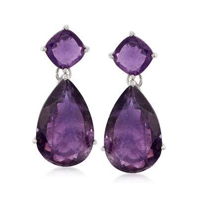 20.00 ct. t.w. Amethyst Drop Earrings in Sterling Silver