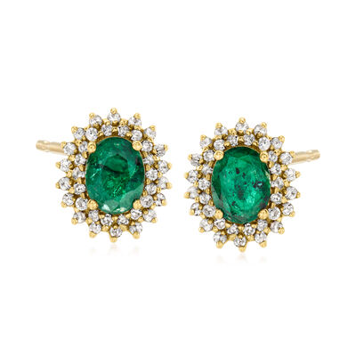 C. 1980 Vintage 2.50 ct. t.w. Emerald and 1.00 ct. t.w. Diamond Earrings in 14kt Yellow Gold