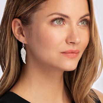 1.30 ct. t.w. Ruby and .10 ct. t.w. Diamond Angel Wing Drop Earrings