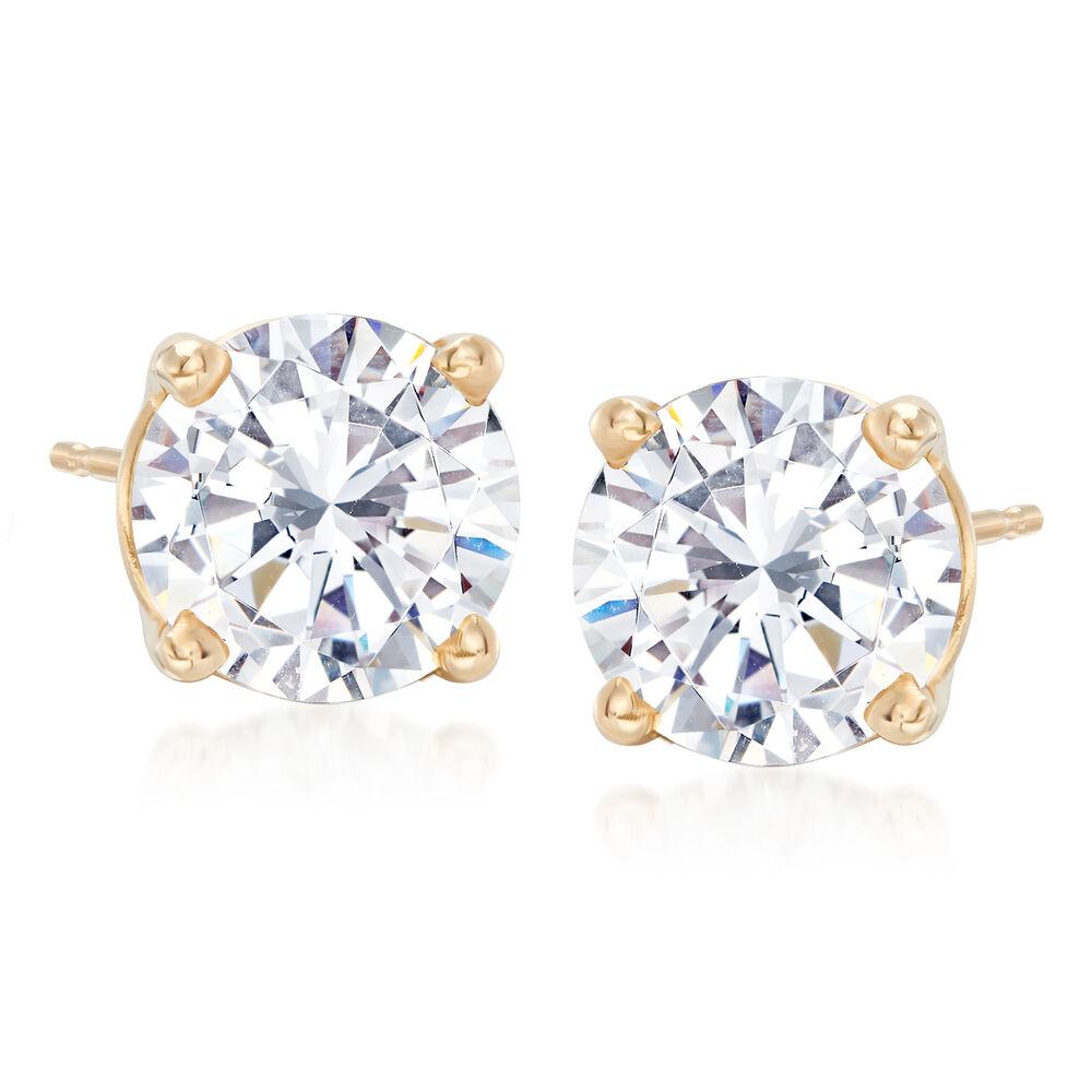 3 00 Ct T W Cz Stud Earrings In 14kt Yellow Gold