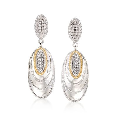 "Andrea Candela ""Eco"" .21 ct. t.w. Diamond Drop Earrings in 18kt Yellow Gold and Sterling Silver, , default"