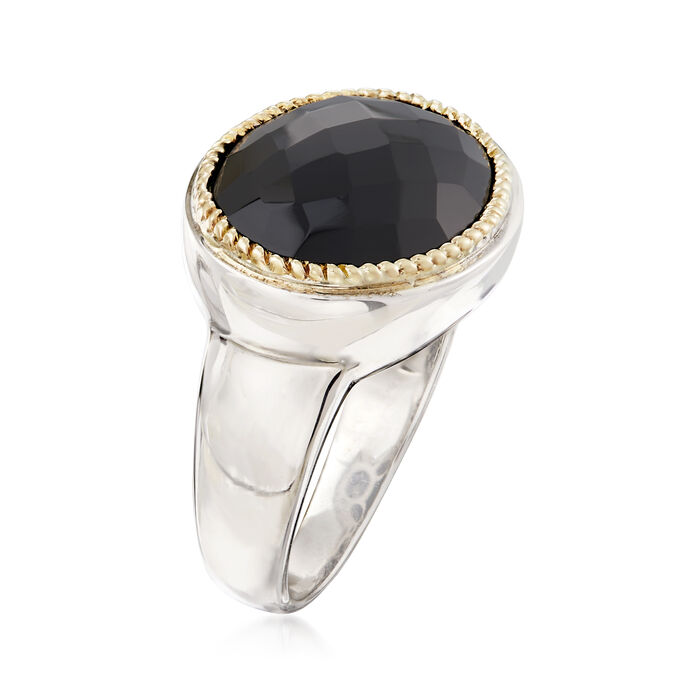 Black Onyx Ring in Sterling Silver with 14kt Yellow Gold