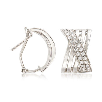 1.15 ct. t.w. Diamond Crisscross Drop Earrings in 14kt White Gold, , default