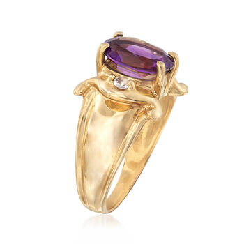 C. 1980 Vintage 2.20 Carat Amethyst Ring with CZ Accents in 10kt Yellow Gold. Size 6.75, , default