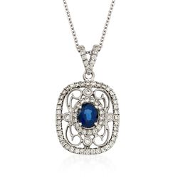 "Simon G. .60 Carat Fancy Sapphire and .39 ct. t.w. Diamond Pendant Necklace in 18kt White Gold. 17"", , default"