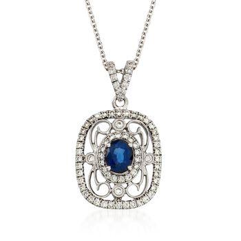 "Simon G. .60 Carat Fancy Sapphire and .39 ct. t.w. Diamond Pendant Necklace in 18kt White Gold. 17"", , default"