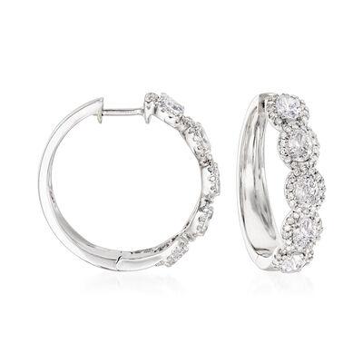 2.00 ct. t.w. Diamond Hoop Earrings in 18kt White Gold, , default