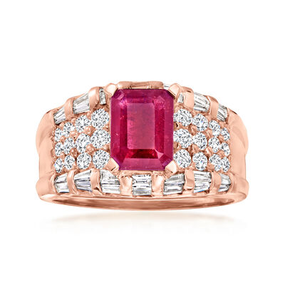 1.75 Carat Ruby 1.13 ct. t.w. Diamond Ring in 14kt Rose Gold